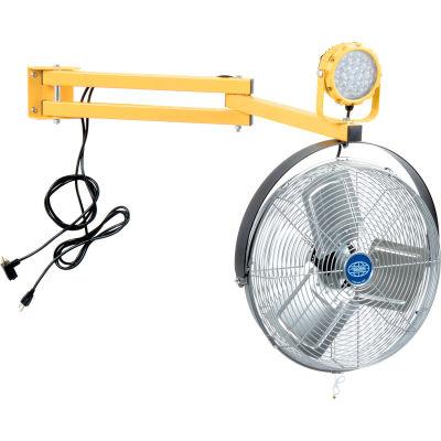 """Global Industrial™ LED Dock Light 30W, 3000 Lumens, 5000K, w/40"""" Arm & 18"""" 3-Speed Fan"""