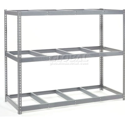 "Wide Span Rack 96""W x 48""D x 96""H With 3 Shelves No Deck 800 Lb Capacity Per Level - Gray"