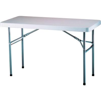 "Lifetime® Adjustable Height Folding Table, 48""L x 24""W x 24""- 36""H, White Granite"