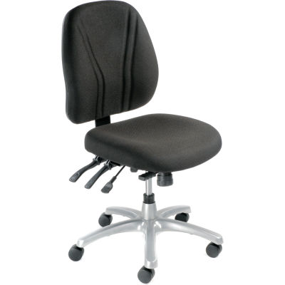 Interion® Multifunctional Office Chair - Fabric - Mid Back - Black Seat Silver Base