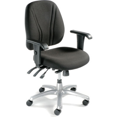 Interion® Multifunctional Office Chair with Arms - Fabric - Mid Back - Black Seat Silver Base