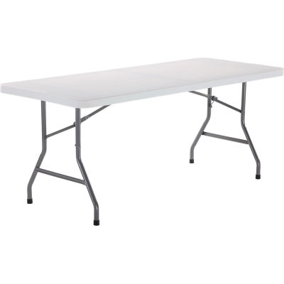 Interion® 6' Plastic Folding Table - White