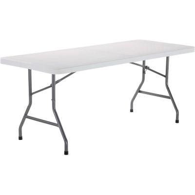 "Interion® Plastic Folding Table, 30"" x 72"", White"