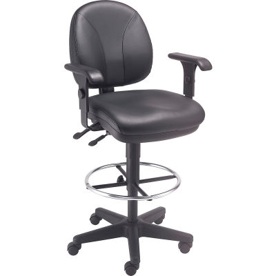 Interion® Leather Task Stool with Arms - 360° Footrest - Black