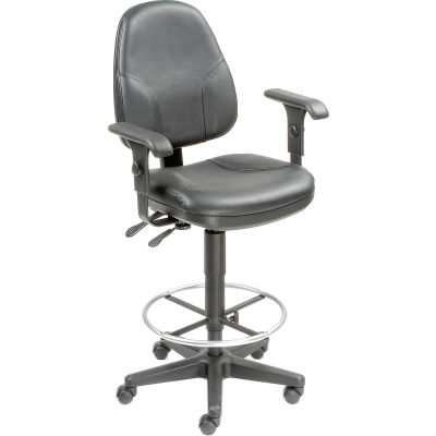 Interion® Leather Operator Stool with Arms - 360° Footrest - Black