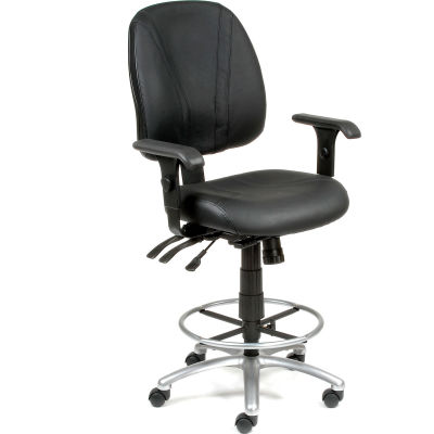 Interion® Deluxe Leather Office Stool with Arms - 360° Footrest - Black