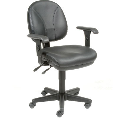 Interion® Multifunctional Task Chair with Arms - Leather - Black