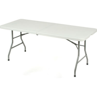 "Interion® 72"" x 30"" Plastic Fold in Half Table - White"