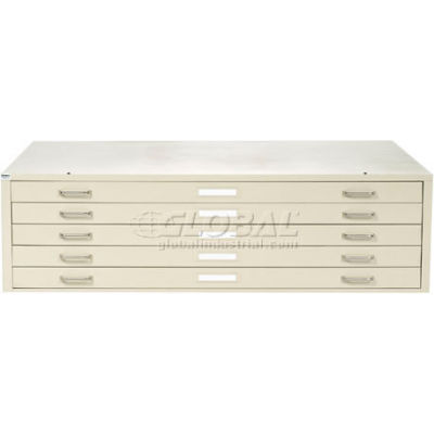 """Interion® - Blueprint Flat File Cabinet – 5 Drawer - 54"""" – Putty"""