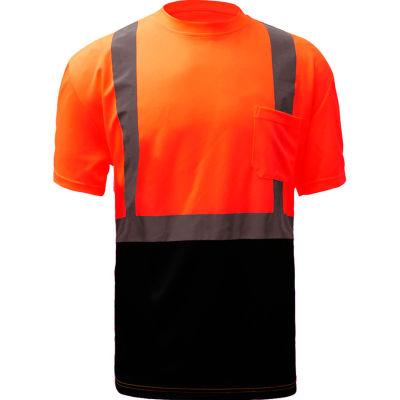 GSS Safety 5112, Class 2, Microfiber Birdseye Short Sleeve T-Shirt W/ Black Bottom, Orange, L Tall