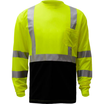 GSS Safety 5113, Class 3, Microfiber Birdseye Long Sleeve T-Shirt W/ Black Bottom, Lime, 2XL Tall