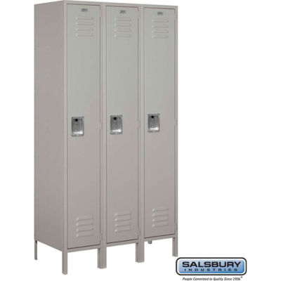 """Single Tier 3 Door Extra Wide Metal Locker, 15""""Wx18""""Dx72""""H, Gray, Unassembled"""