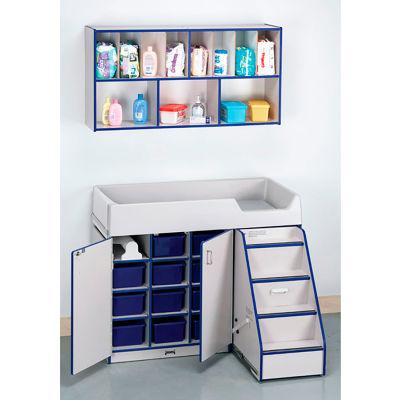Jonti-Craft® Diaper Changer & Organizer Combo, Stairs on Right, Gray Laminate, Blue Edge