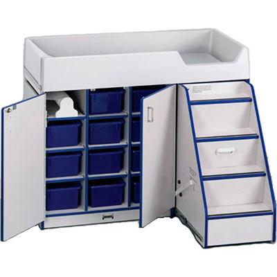 "Jonti-Craft® Diaper Changer Stairs Right, 48-1/2"" x 23-1/2"" x 38-1/2, Gray Laminate, Blue Edge"