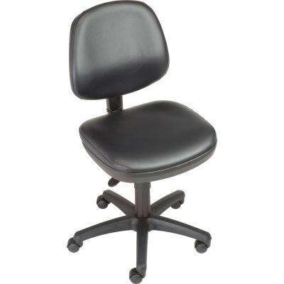 Interion® Armless Vinyl Chair - Black
