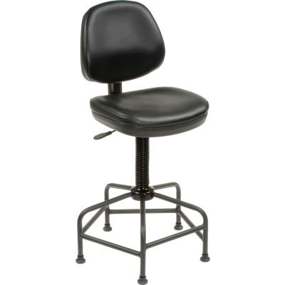 Interion® Vinyl Armless Spider Base Shop Stool, Black