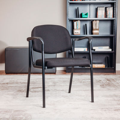 Interion® Guest Chair with Arms - Fabric - Black - Pinehurst Collection