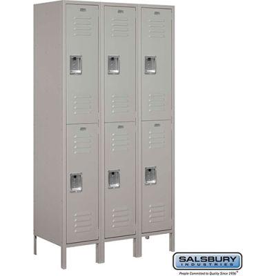 """Double Tier 6 Door Extra Wide Metal Locker, 15""""Wx18""""Dx36""""H, Gray, Unassembled"""