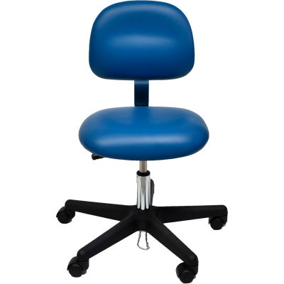 ESD-Safe Vinyl Chair with Nylon Base with Drag Chain Blue