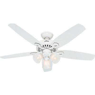 """Hunter Fan Builder Plus 52"""" Indoor Ceiling Fan 53236 - Snow White"""