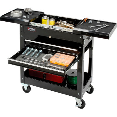 Global Industrial™ 2-Drawer Tool Cart With Sliding Top, 27""