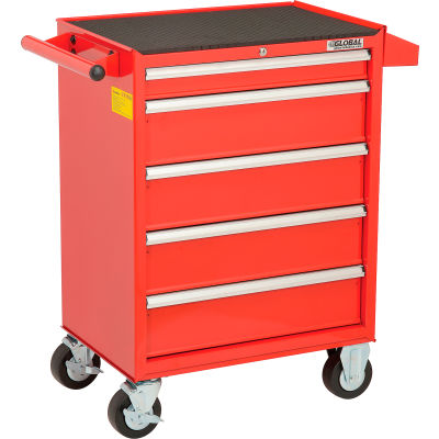 "Global Industrial™ 26-3/8"" x 18-1/8"" x 37-13/16""  5 Drawer Red Roller Tool Cabinet"