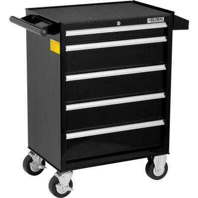 "Global Industrial™ 26-3/8"" x 18-1/8"" x 37-13/16"" 5 Drawer Black Roller Tool Cabinet"