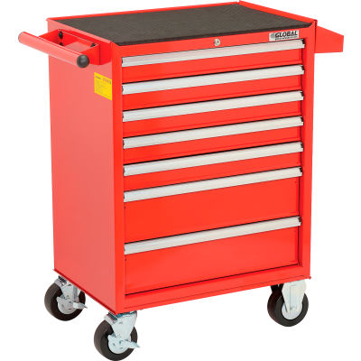 """Global Industrial™ 26-3/8"""" x 18-1/8"""" x 37-13/16"""" 7 Drawer Red Roller Cabinet"""