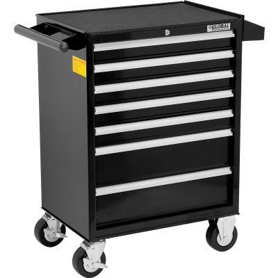 """Global Industrial™ 26-3/8"""" x 18-1/8"""" x 37-13/16"""" 7 Drawer Black Roller Tool Cabinet"""