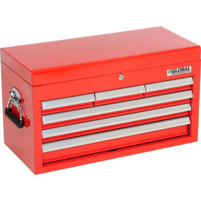 """Global Industrial™ 25-15/16"""" x 12-1/16"""" x 14-3/4"""" 6 Drawer Red Tool Chest"""