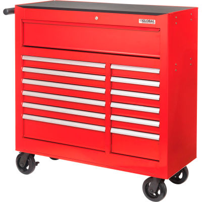 "Global Industrial™ 42-3/8"" x 18"" x 38-5/8"" 13 Drawer Red Roller Tool Cabinet"