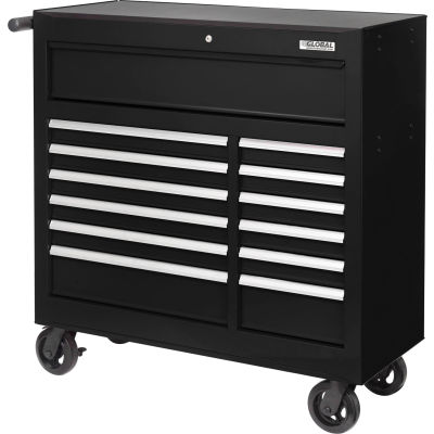 """Global Industrial™ 42-3/8"""" x 18"""" x 38-5/8"""" 13 Drawer Black Roller Tool Cabinet"""