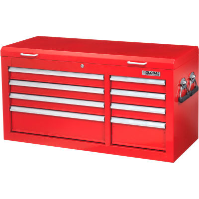 """Global Industrial™ 41-3/8"""" x 17-15/16"""" x 22-1/4"""" 8 Drawer Red Tool Chest"""