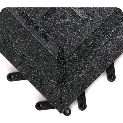 """F.I.T.™ Functional Interlock Solid Tile w/Grit Shield 5/8"""" Thick 1' x 1' Black - Case of 20 - Pkg Qty 20"""