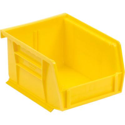 Quantum Plastic Stacking Bins QUS210 4-1/8 X 5-3/8 X 3 Yellow - Pkg Qty 24