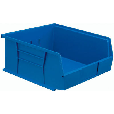 Global Industrial™ Plastic Stack and Hang Parts Storage Bin 11 x 10-7/8 x 5, Blue - Pkg Qty 6