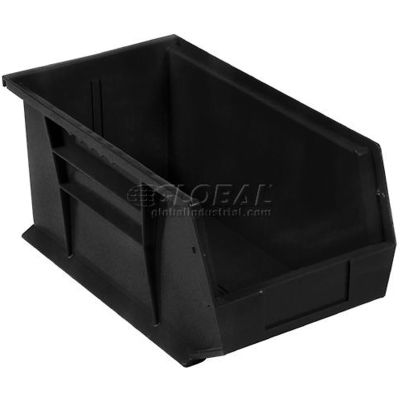 Global Industrial™ Plastic Stack and Hang Parts Storage Bin 5-1/2 x 14-3/4 x 5, Black - Pkg Qty 12