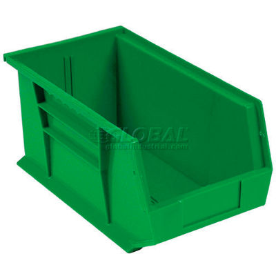 Global Industrial™ Plastic Stack and Hang Parts Storage Bin 5-1/2 x 14-3/4 x 5, Green - Pkg Qty 12