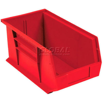 Global Industrial™ Plastic Stack and Hang Parts Storage Bin 5-1/2 x 14-3/4 x 5, Red - Pkg Qty 12