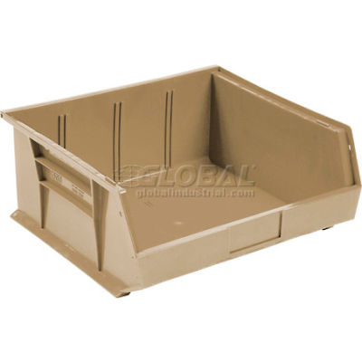 Global Industrial™ Plastic Stack and Hang Parts Storage Bin 11 x 10-7/8 x 5, Beige - Pkg Qty 6
