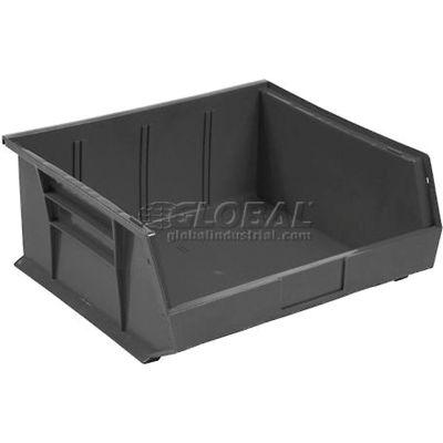 "Global Industrial™ Plastic Stack & Hang Bin, 11""W x 10-7/8""D x 5""H, Black - Pkg Qty 6"