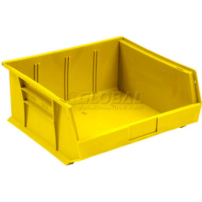 Global Industrial™ Plastic Stack and Hang Parts Storage Bin 11 x 10-7/8 x 5, Yellow - Pkg Qty 6