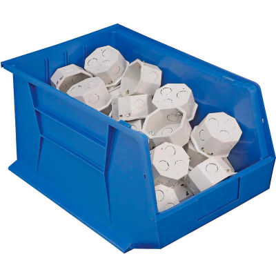 Plastic Stack and Hang Parts Storage Bin 11 x 18 x 10 Blue - Pkg Qty 4