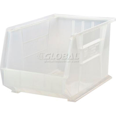 Plastic Stack and Hang Parts Storage Bin 11 x 18 x 10 Clear - Pkg Qty 4