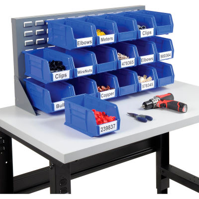 "Global Industrial™ Louvered Bench Rack 36""W x 20""H - 18 of Blue Premium Stacking Bins"
