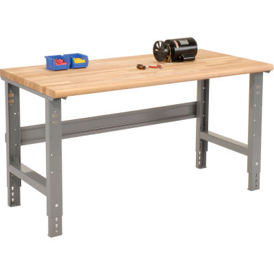 Global Industrial™ 72 x 36 Adjustable Height Workbench C-Channel Leg - Ash Safety Edge - Gray