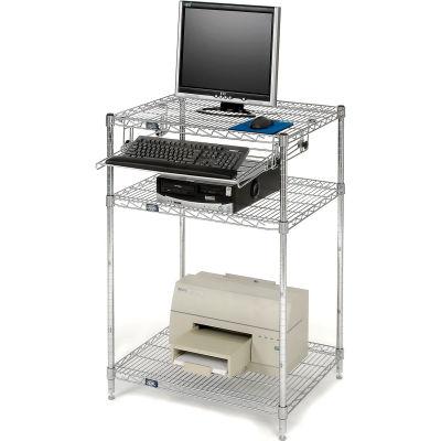 """Nexel™ Chrome Wire Shelf Computer Workstation with Keyboard Tray, 30""""W x 24""""D x 42""""H"""