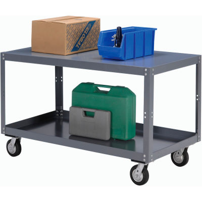 Global Industrial™ Portable Steel Table 2 Shelves 72x36 1200 Lb. Capacity Unassembled