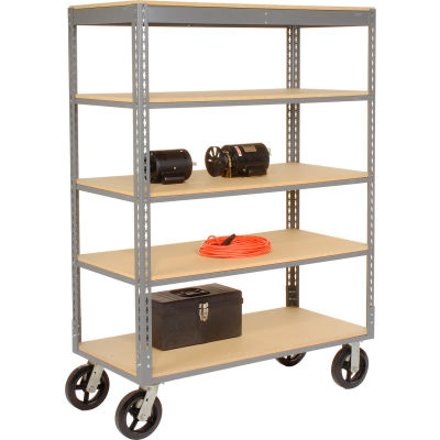 Global Industrial™ Easy Adjust Boltless 5 Shelf Truck 60 x 24 with Wood Shelves, Rubber Casters