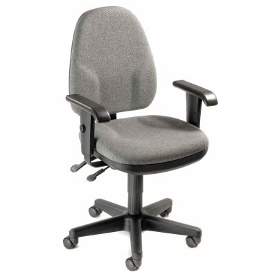 Interion® Task Chair With Mid Back & Adjustable Arms, Fabric, Gray